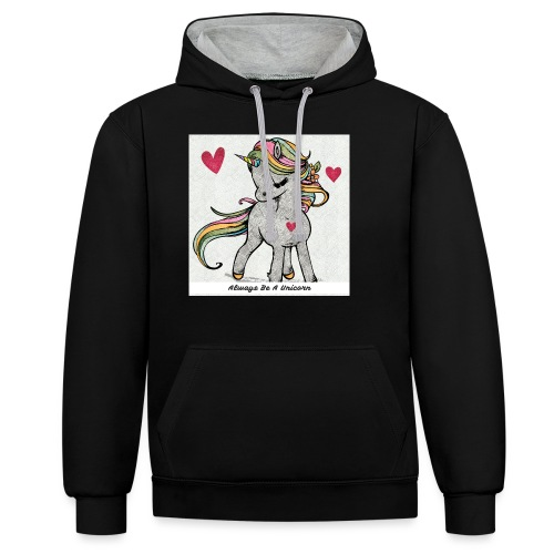 Always Be A Unicorn - Contrast Colour Hoodie