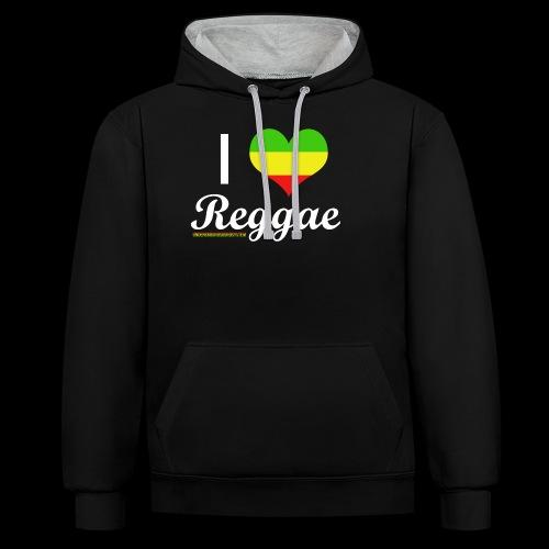 I LOVE Reggae - Kontrast-Hoodie