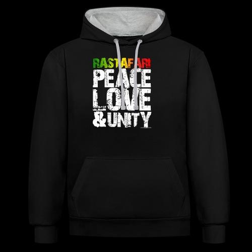 RASTAFARI - PEACE LOVE & UNITY - Kontrast-Hoodie