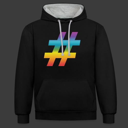 rainbow hash include - Contrast Colour Hoodie