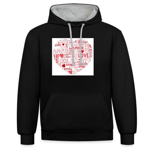 T-shirt texte amour - Sweat-shirt contraste