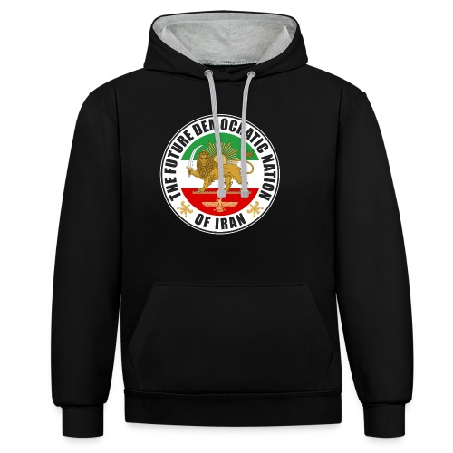 Iran Emblem Old Flag With Lion - Contrast Colour Hoodie