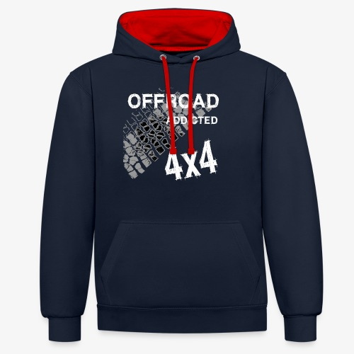 Defender Land-Rover OFF Road White - Kontrast-Hoodie