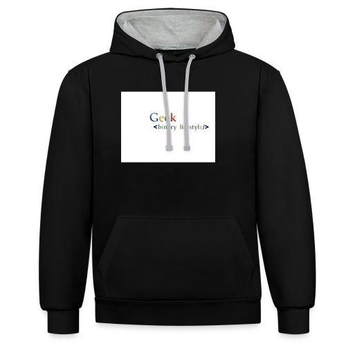 geek_life_style_google_font - Sudadera con capucha en contraste