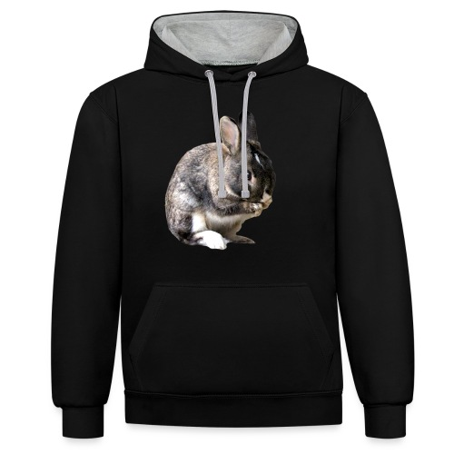 coniglio - Felpa con cappuccio bicromatica
