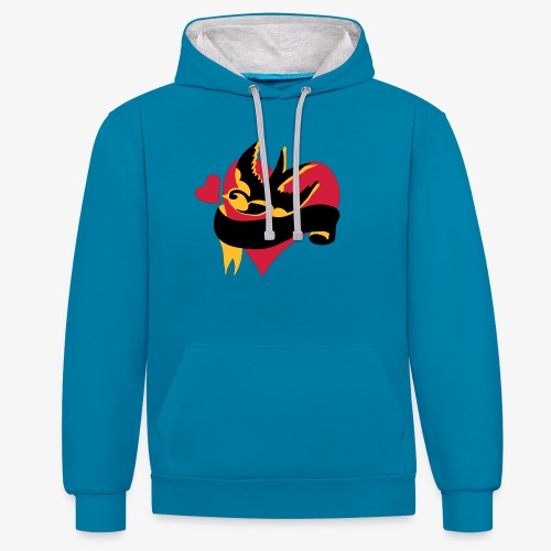 retro tattoo bird with heart - Contrast Colour Hoodie