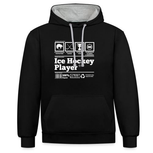 Ice Hockey Player Present Funny Hilarious - Kontrast-Hoodie