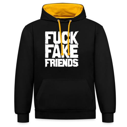 FUCK FAKE FRIENDS - Bluza z kapturem z kontrastowymi elementami