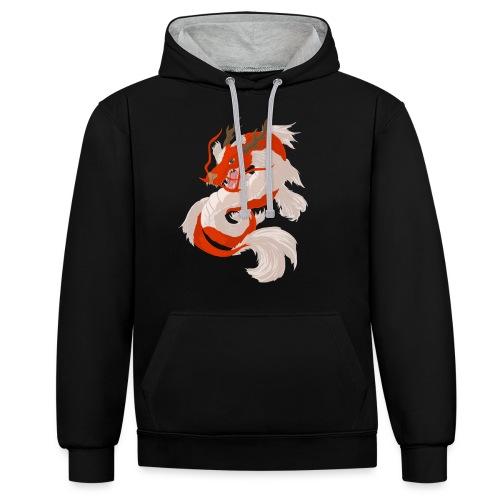 Dragon koi - Felpa con cappuccio bicromatica