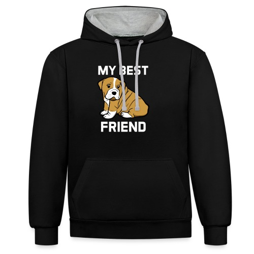 My Best Friend - Hundewelpen Spruch - Kontrast-Hoodie