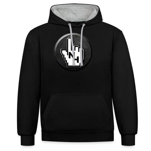 NoHand T-Shirt Schwarz (ohne Text) - Kontrast-Hoodie