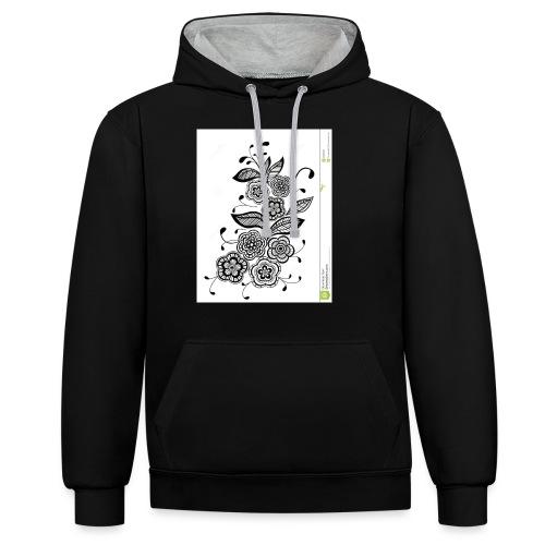 diseño de flores - Sudadera con capucha en contraste