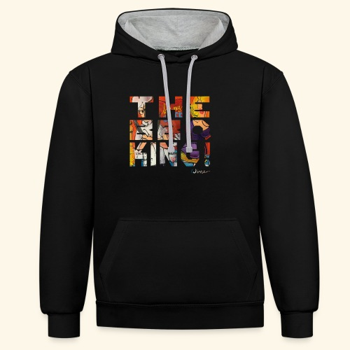 THE BBQ KING T SHIRTS TEKST - Contrast hoodie