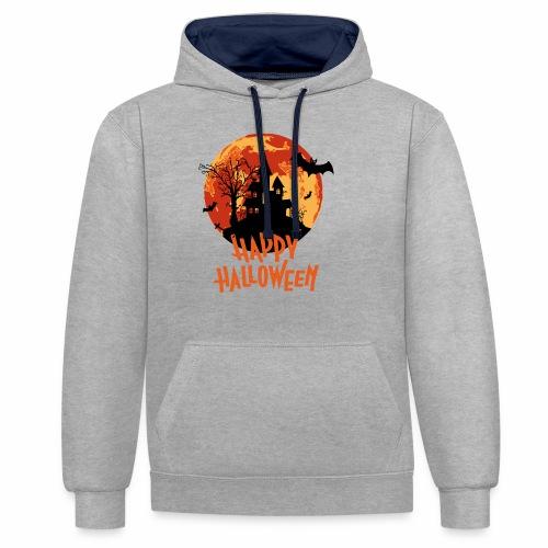 Bloodmoon Haunted House Halloween Design - Kontrast-Hoodie