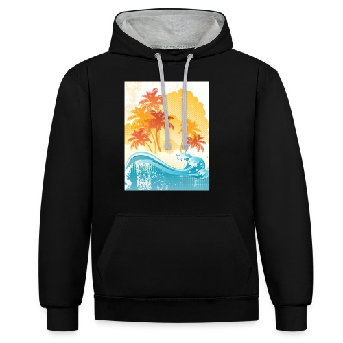 Palm Beach - Contrast Colour Hoodie