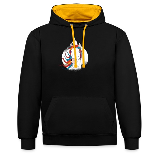Cartoon Einhorn Mittelfinger Design - Kontrast-Hoodie