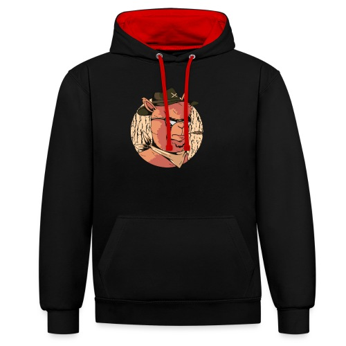 Cartoon Alpaka Brillen Design - Kontrast-Hoodie