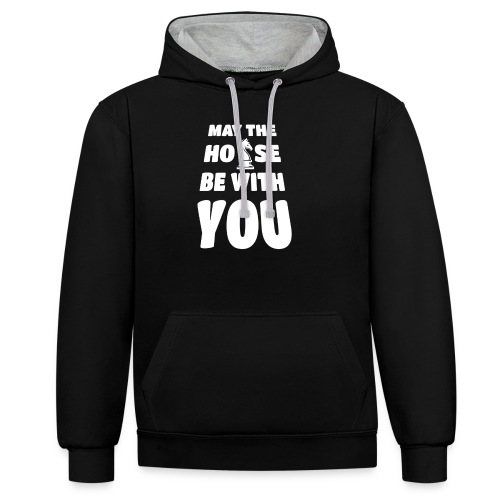 may the horse be with you - Schach - weiß - Kontrast-Hoodie