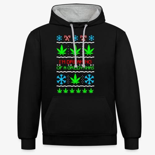Green Ugly Christmas Weed - Kontrast-Hoodie