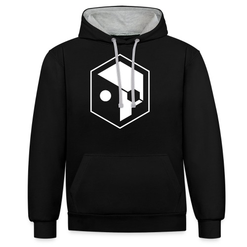 skull full outline W png - Contrast Colour Hoodie
