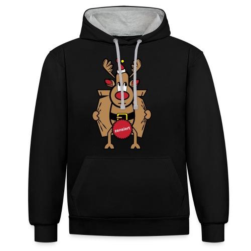Dirty Rudolph zu Weihnachten als Geschenk - Kontrast-Hoodie