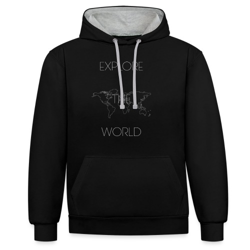 EXPLORE THE WORLD - Sudadera con capucha en contraste