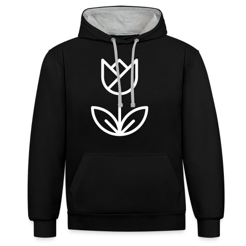 Tulip white png - Contrast Colour Hoodie