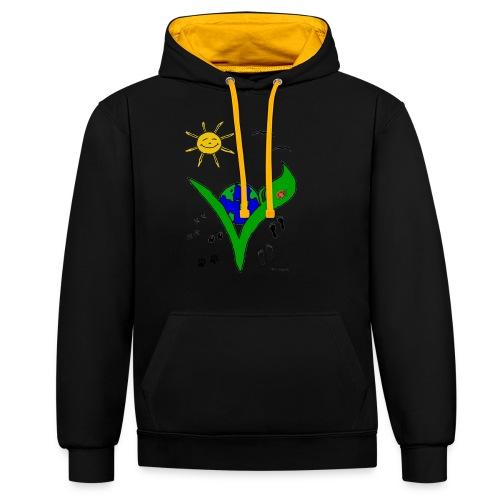 Ein Logo geht um die Welt - Kontrast-Hoodie