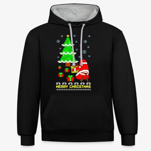 Merry Christmas Santa Tanga Ugly Xmas - Kontrast-Hoodie