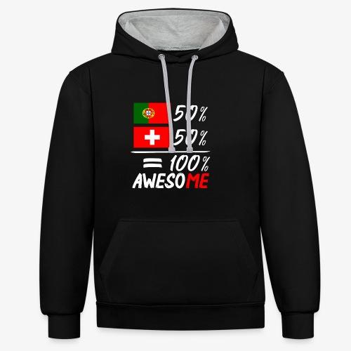 50% Portugal 50% Schweiz - Kontrast-Hoodie