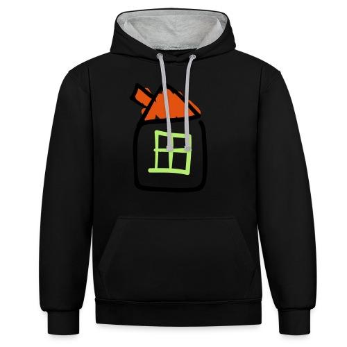 House Line Drawing Pixellamb - Kontrast-Hoodie