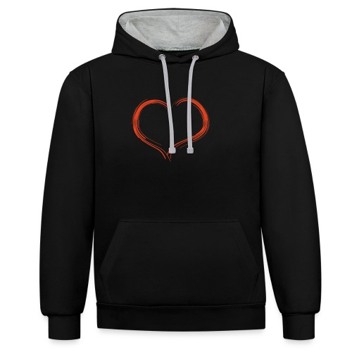 Only Heart Red - Kontrast-Hoodie