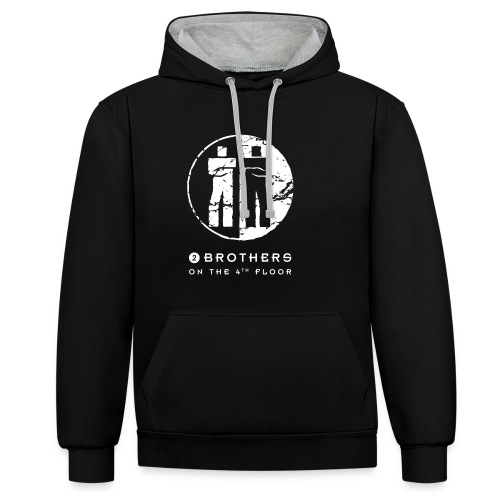 2 Brothers White text - Contrast Colour Hoodie
