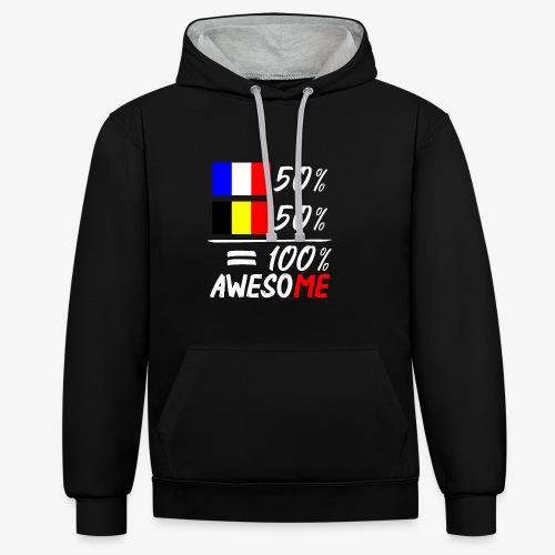 50% Frankreich 50% Belgien - Kontrast-Hoodie