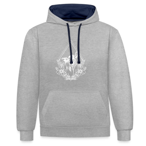 Cow with flowers - Contrast hoodie