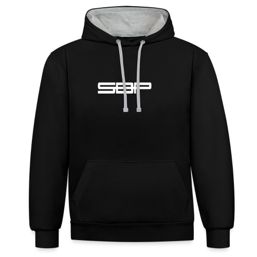 T-shirt black chest emblem white - Contrast Colour Hoodie