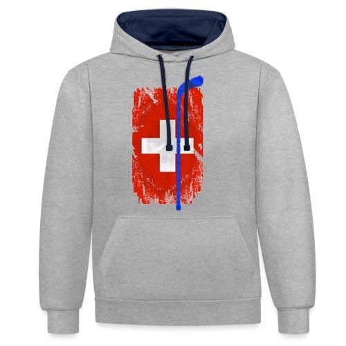 Schweizer Flagge Hockey - Kontrast-Hoodie