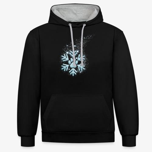 dog paw snowflake - Kontrast-Hoodie