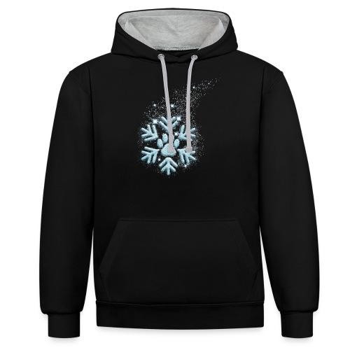 Vorschau: dog paw snowflake - Kontrast-Hoodie