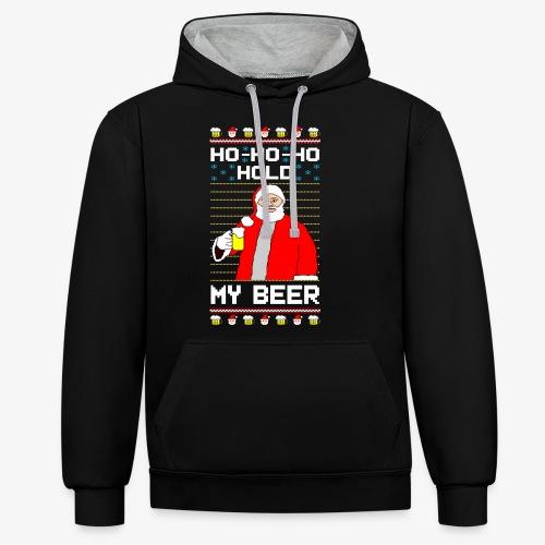 Holdy My Beer Santa Ugly Christmas - Kontrast-Hoodie