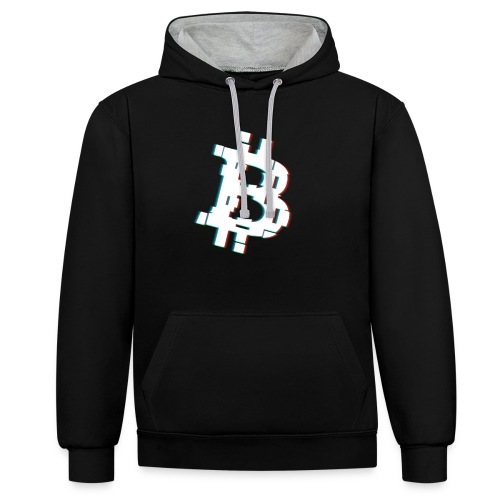 Glitched Bitcoin - Contrast Colour Hoodie
