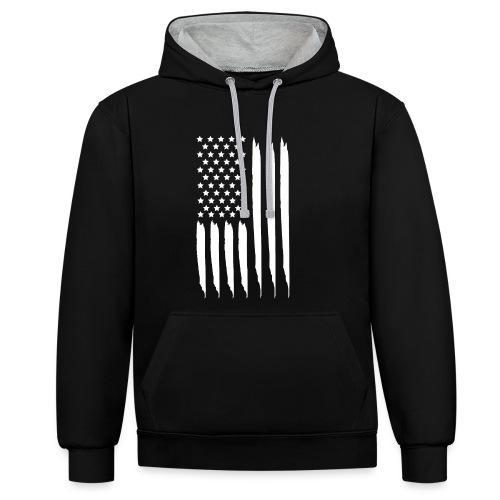 EEUU flag - Sudadera con capucha en contraste