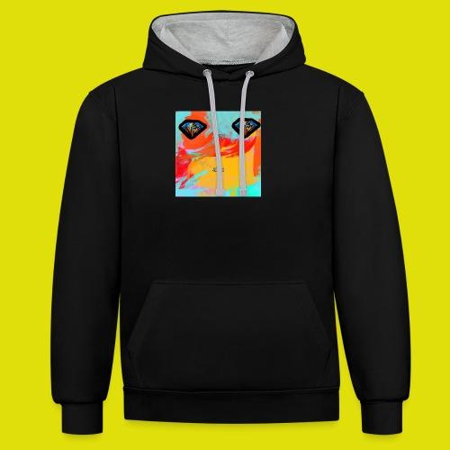 grey hoodie youtube logo - Contrast Colour Hoodie
