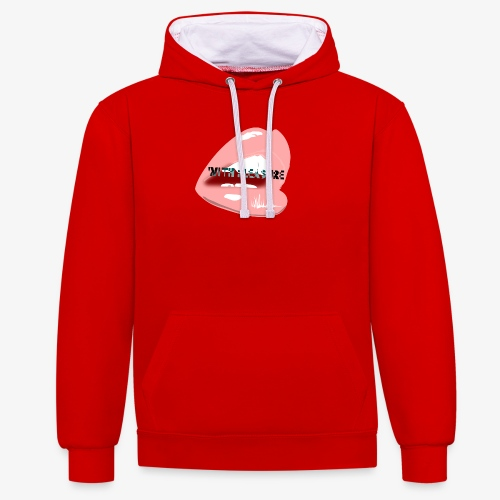 With Pleasure Mouth Logo - Contrast Colour Hoodie