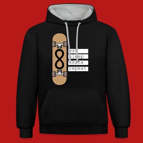 eat sleep skate repeat - Contrast hoodie