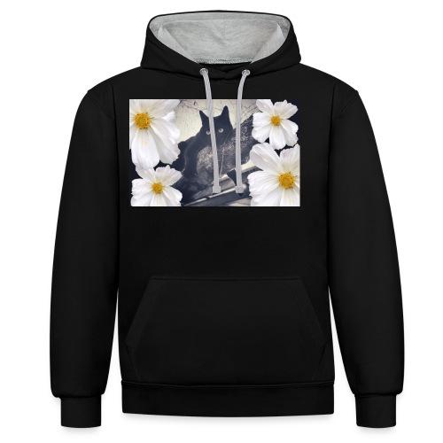 Blackcat and flowers - Kontrast-Hoodie
