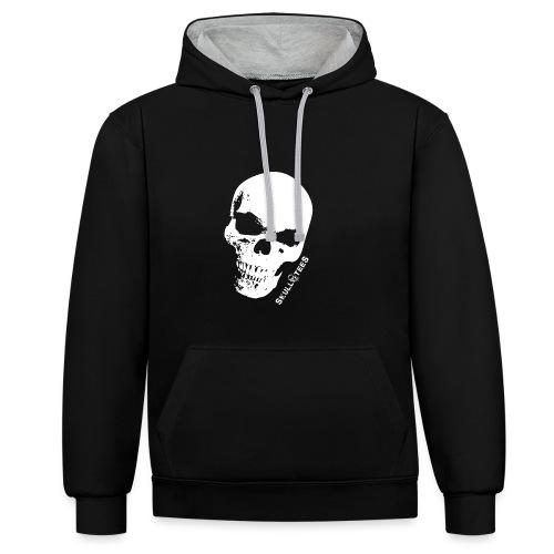 skullGROSS weiss png - Kontrast-Hoodie