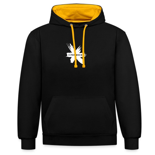 x-perience Logo weiß - Kontrast-Hoodie