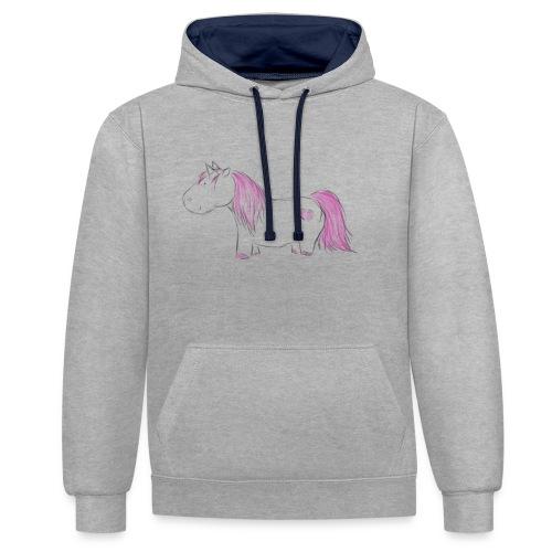 Pink Unicorn - Kontrast-Hoodie