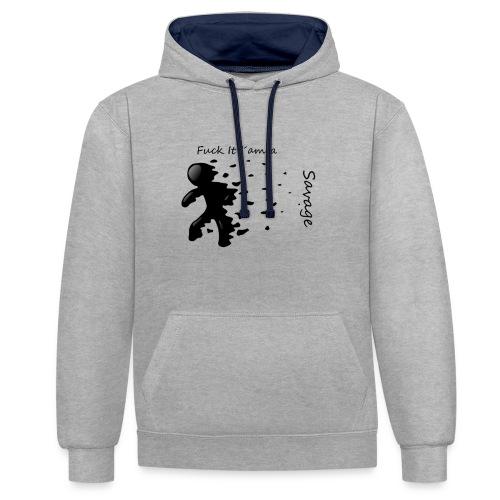 Savage Stick man Tee And Hoodie - Kontrast-hættetrøje